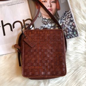 Etienne Aigner Brown Woven Leather Crossbody Bag
